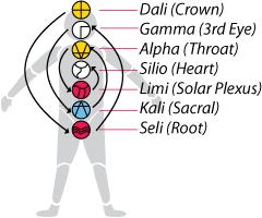 Graphic Showing Seven Radial Plasmas corresponding with Seven Chakras